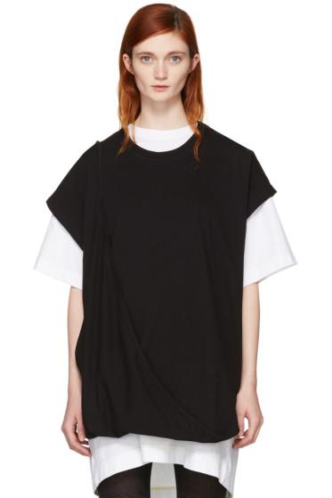 MM6 Maison Margiela - Black Asymmetric T-Shirt Dress