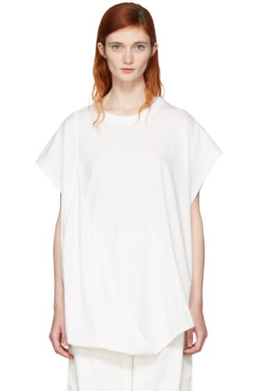 MM6 Maison Margiela - Off-White Asymmetric T-Shirt