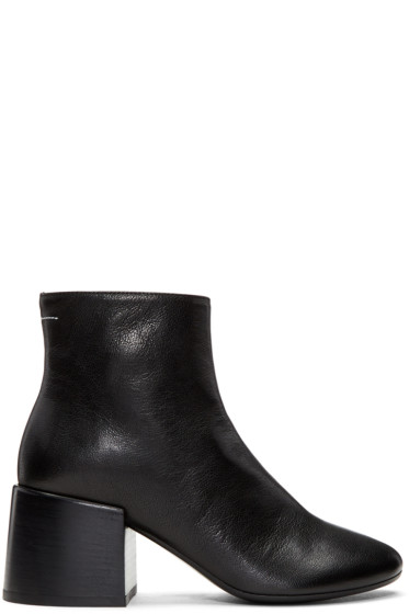 MM6 Maison Margiela - Black Leather Cube Heel Boots