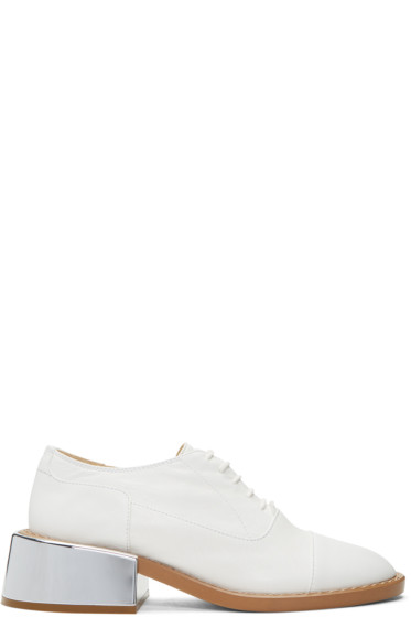 MM6 Maison Margiela - White Metallic Heel Oxfords