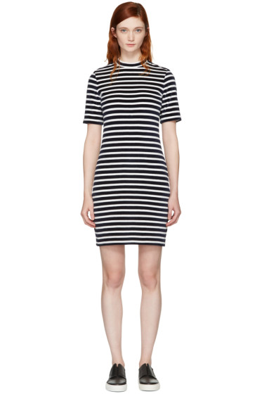 T by Alexander Wang - Navy & White Striped Velour Dress