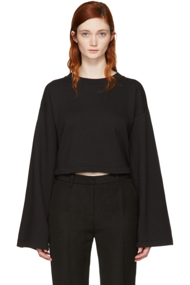 T by Alexander Wang - Black Cropped Tie-Back Sweatshirt