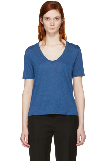 T by Alexander Wang - Blue Classic Cropped Pocket T-Shirt