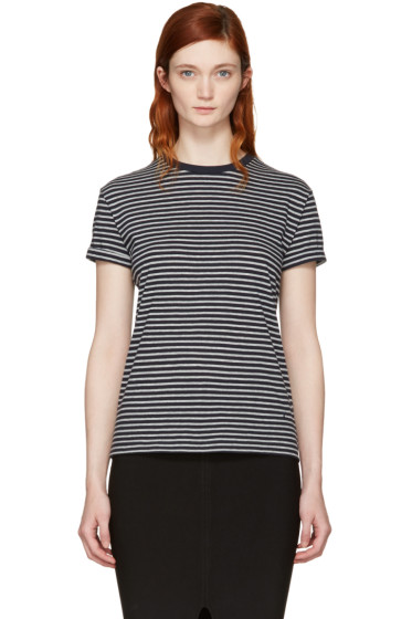 T by Alexander Wang - Navy & Grey Striped Crewneck T-Shirt
