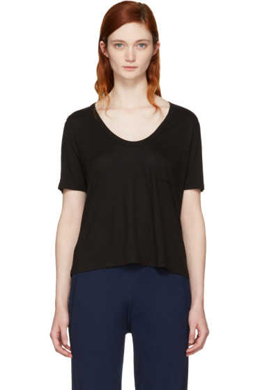 T by Alexander Wang - Black Classic Cropped Pocket T-Shirt