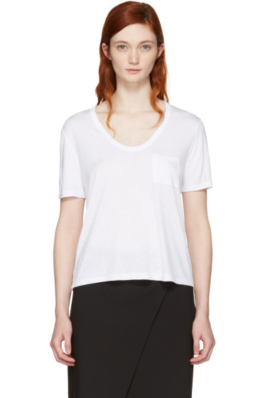 T by Alexander Wang - White Classic Cropped Pocket T-Shirt