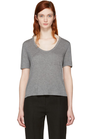 T by Alexander Wang - Grey Classic Cropped Pocket T-Shirt