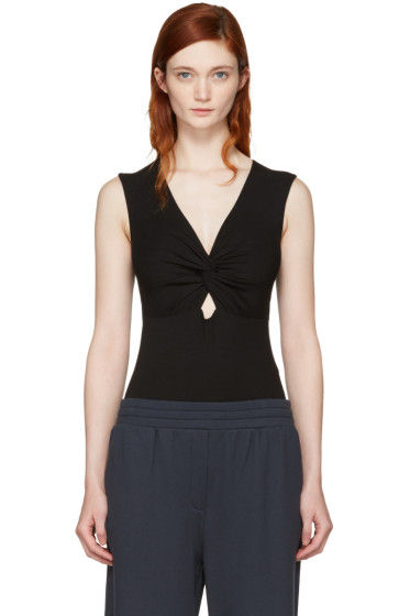 T by Alexander Wang - Black Twist Front Tank Bodysuit