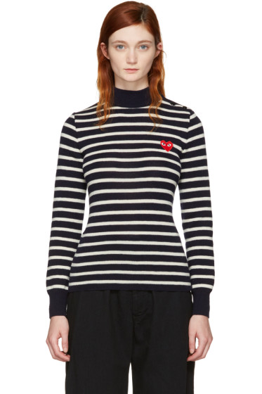 Comme des Garçons Play - Navy Striped Heart Patch Turtleneck