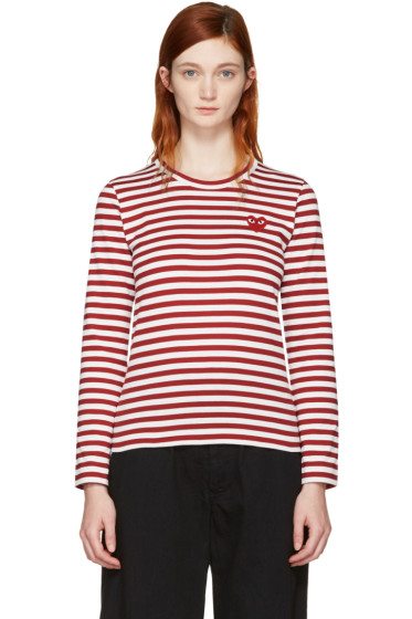 Comme des Garçons Play - Red Long Sleeve Striped Heart Patch T-Shirt