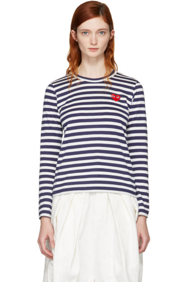 Comme des Garçons Play - Navy Long Sleeve Striped Heart Patch T-Shirt