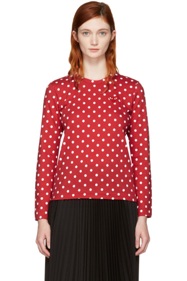 Comme des Garçons Play - Red Long Sleeve Polka Dot Heart Patch T-Shirt