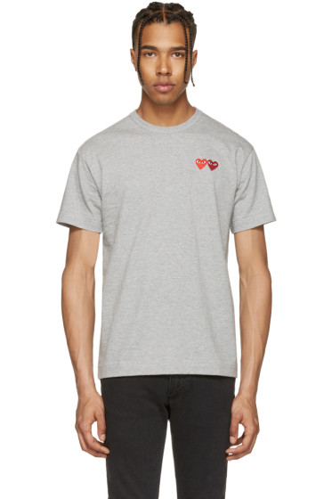 Comme des Garçons Play - Grey Double Heart T-Shirt