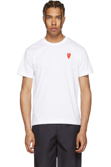 Comme des Garçons Play - White Long Heart T-Shirt