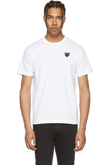 Comme des Garçons Play - White & Black Heart Patch T-Shirt