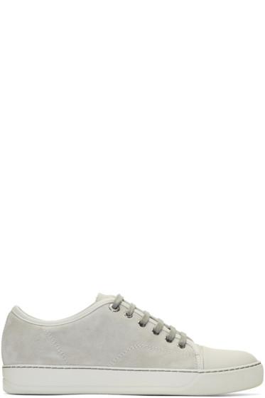 Lanvin - Grey Suede Cap Toe Sneakers