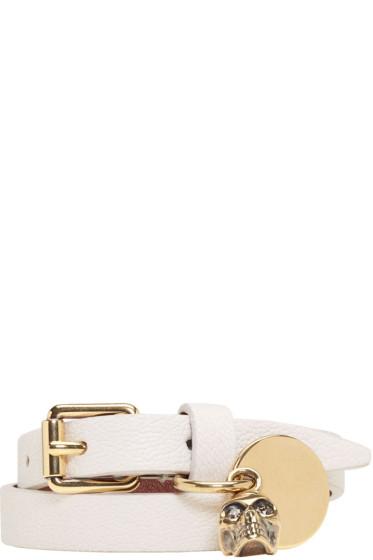 Alexander McQueen - Off-White Double Wrap Skull Bracelet