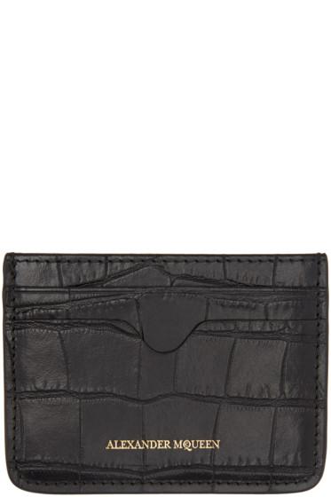 Alexander McQueen - Black Croc-Embossed Card Holder