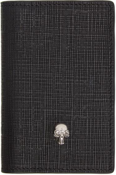 Alexander McQueen - Black & Gunmetal Skull Pocket Organizer