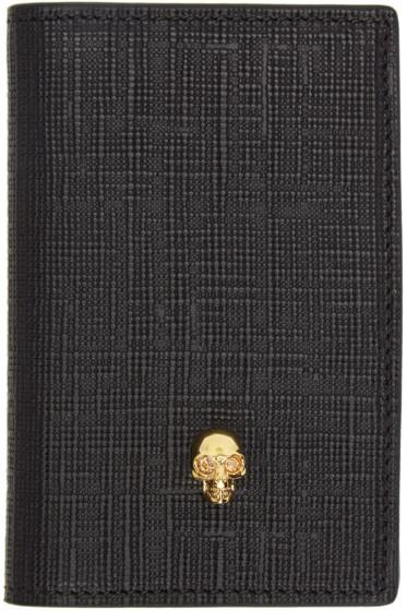 Alexander McQueen - Black & Gold Skull Pocket Organizer