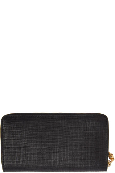 Alexander McQueen - Black Lino Skull Continental Zip Around Wallet