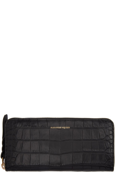 Alexander McQueen - Black Croc-Embossed Continental Zip Around Wallet