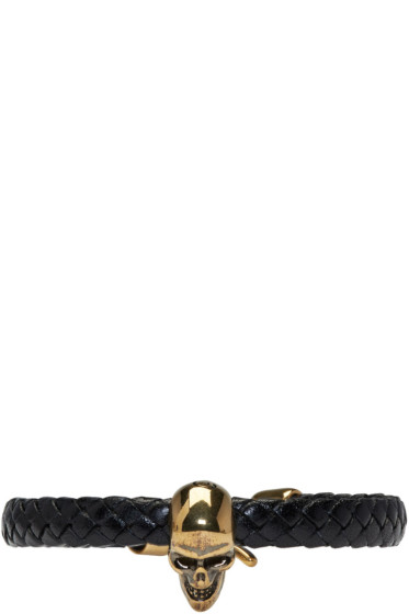 Alexander McQueen - Black Leather Skull Bracelet