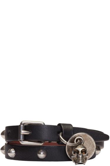 Alexander McQueen - Black Skull Charm Double Wrap Bracelet