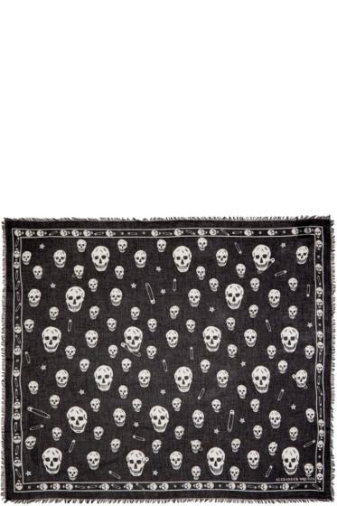 Alexander McQueen - Black F O Punk Skull Scarf