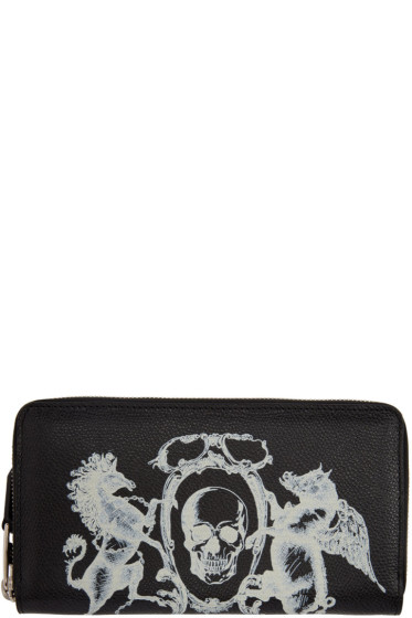 Alexander McQueen - Black 'Coat of Arms' Continental Zip Around Wallet