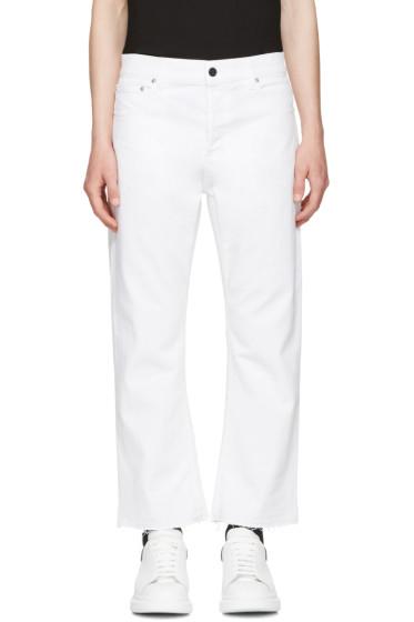 Alexander McQueen - White Slit Hem Kickback Jeans