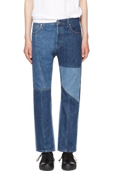Alexander McQueen - Indigo Patchwork Kickback Jeans