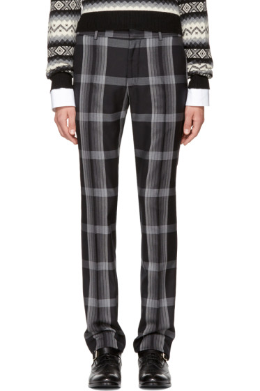 Alexander McQueen - Black & Grey Check Cigarette Trousers