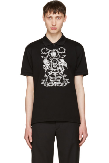 Alexander McQueen - Black Embroidered Classic Piqué Polo