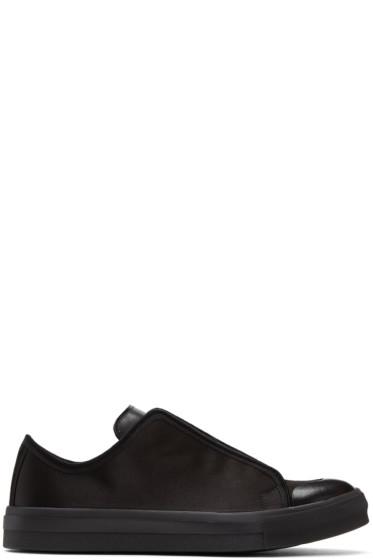 Alexander McQueen - Black Satin Low Cut Sneakers