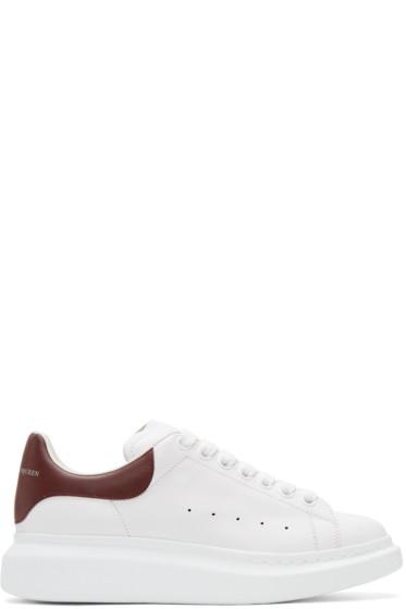 Alexander McQueen - White & Burgundy Oversized Sneakers