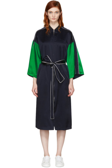 Opening Ceremony - Reversible Navy Silk Kimono Robe Coat
