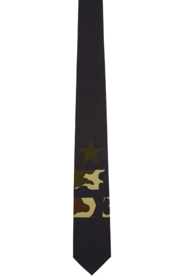 Givenchy - Black Camo Star & Double Stripes Tie