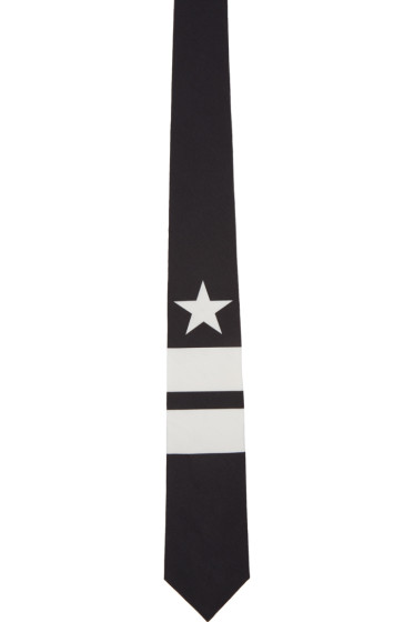 Givenchy - Black & White Star & Double Stripes Tie