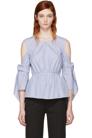 3.1 Phillip Lim - Blue & White Striped Cold Shoulder Blouse