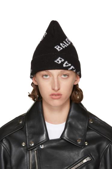 Balenciaga - Black Logo Beanie