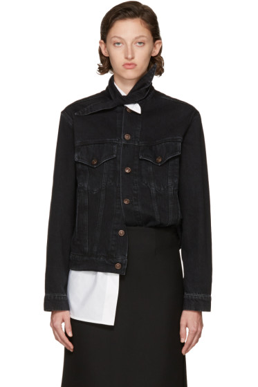 Balenciaga - Black Scarf Denim Jacket