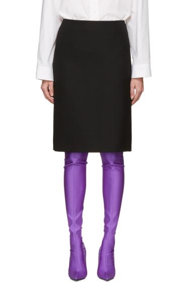 Balenciaga - Black Wool Pencil Skirt