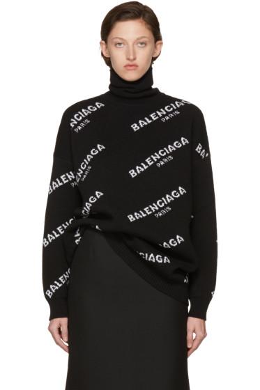 Balenciaga - Black Long Sleeve Box Logo Turtleneck