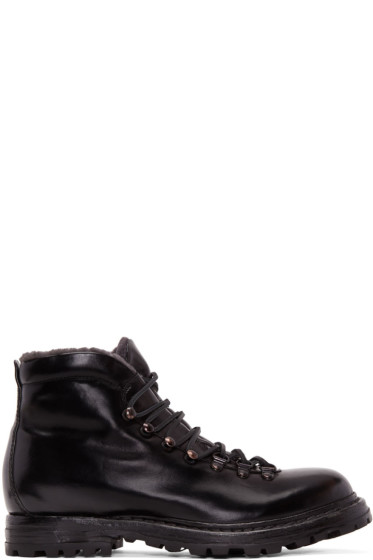 Officine Creative - Black Shearling Kontra Hiking Boots
