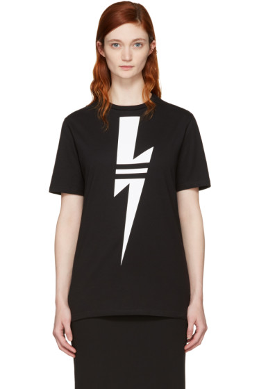 Neil Barrett - Black Double Stripe Thunderbolt T-Shirt