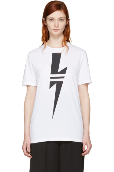 Neil Barrett - White Double Stripe Thunderbolt T-Shirt
