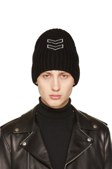 Neil Barrett - Black Chevron Patch Beanie