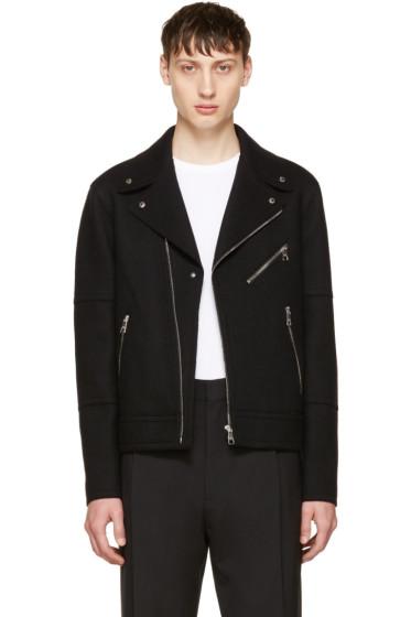 Neil Barrett - Black Raw Cut Wool Biker Jacket