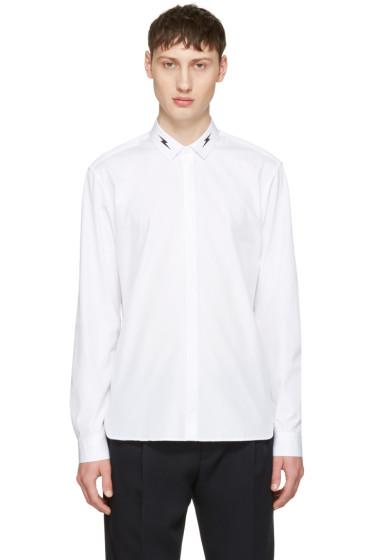 Neil Barrett - White Thunderbolt Collar Shirt
